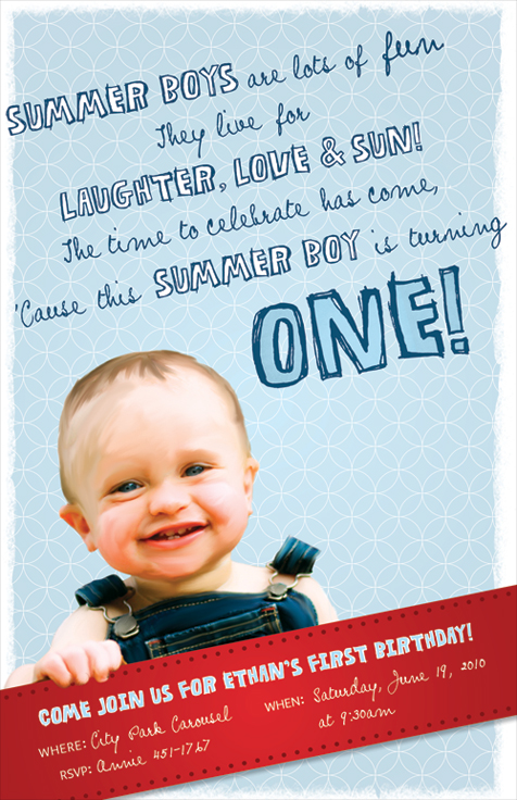 Ethan's First Birthday Invitation